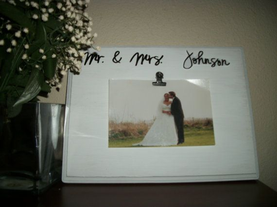 Mr and Mrs photo display frame sign Personalized with by SignReads