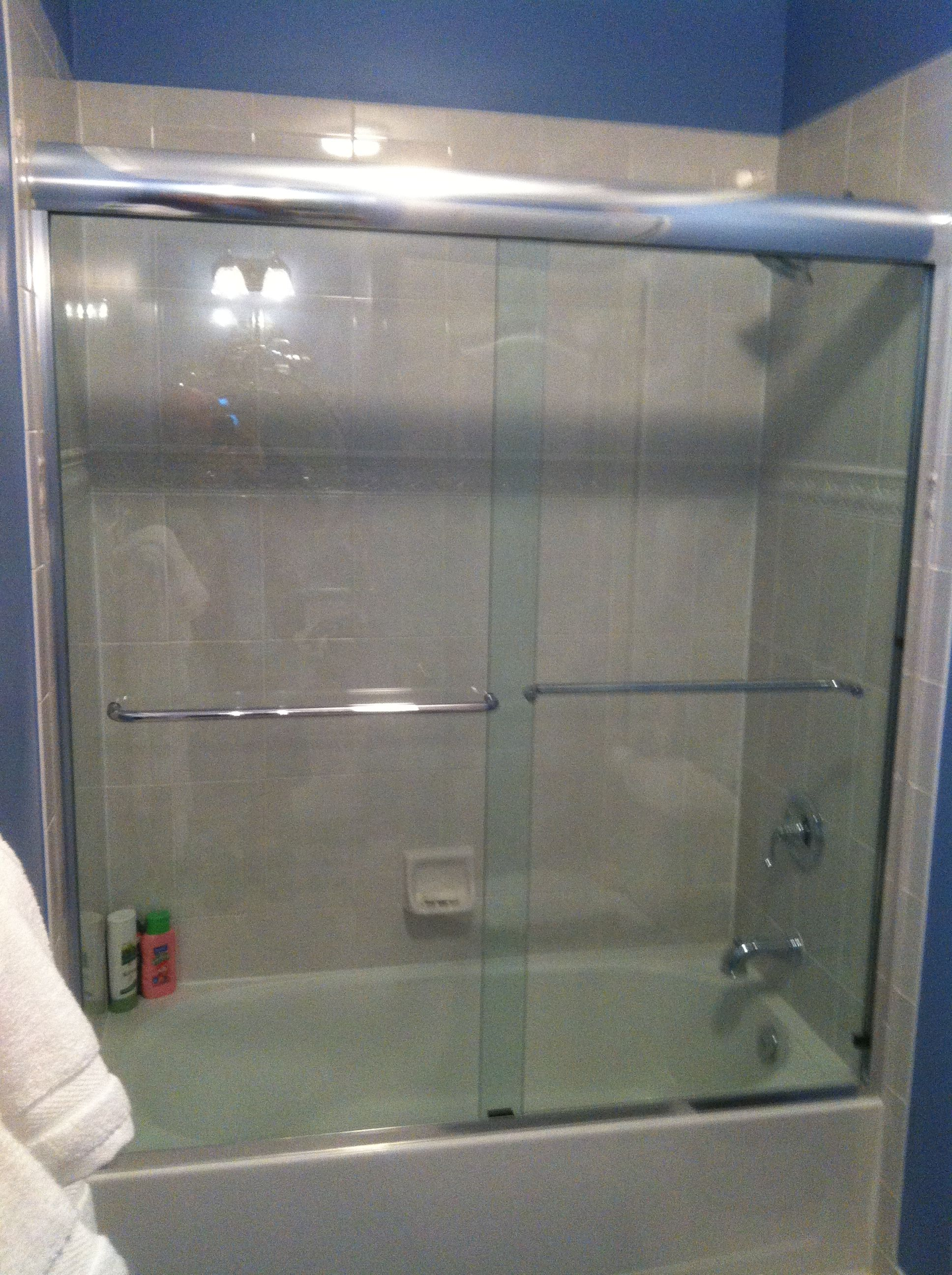 Sliding Glass Tub Enclosure With Chrome Headrail And Hardware We Use Highest Quality Sliding Wheels