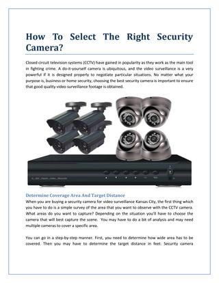 How To Select The Right Security Camera? | Security Systems