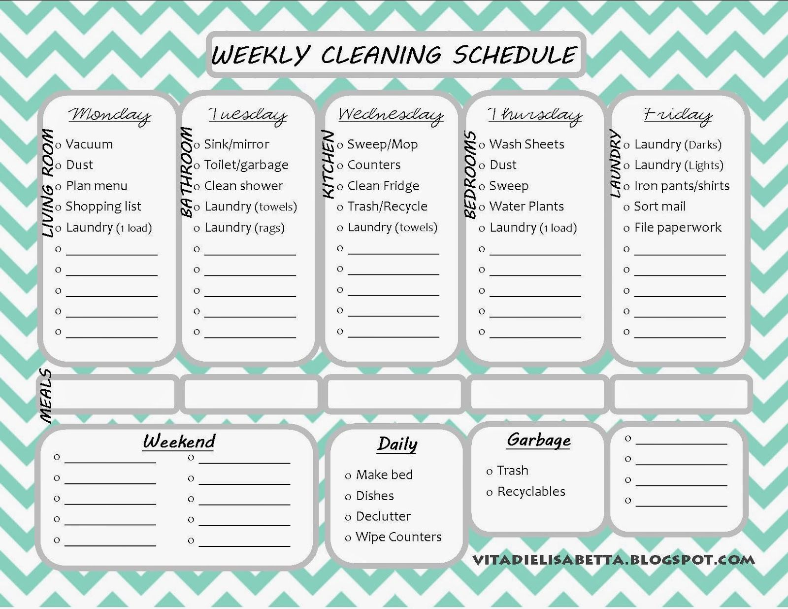 Weekly cleaning schedule printable organizing pinterest weekly cleaning schedule printable pronofoot35fo Images