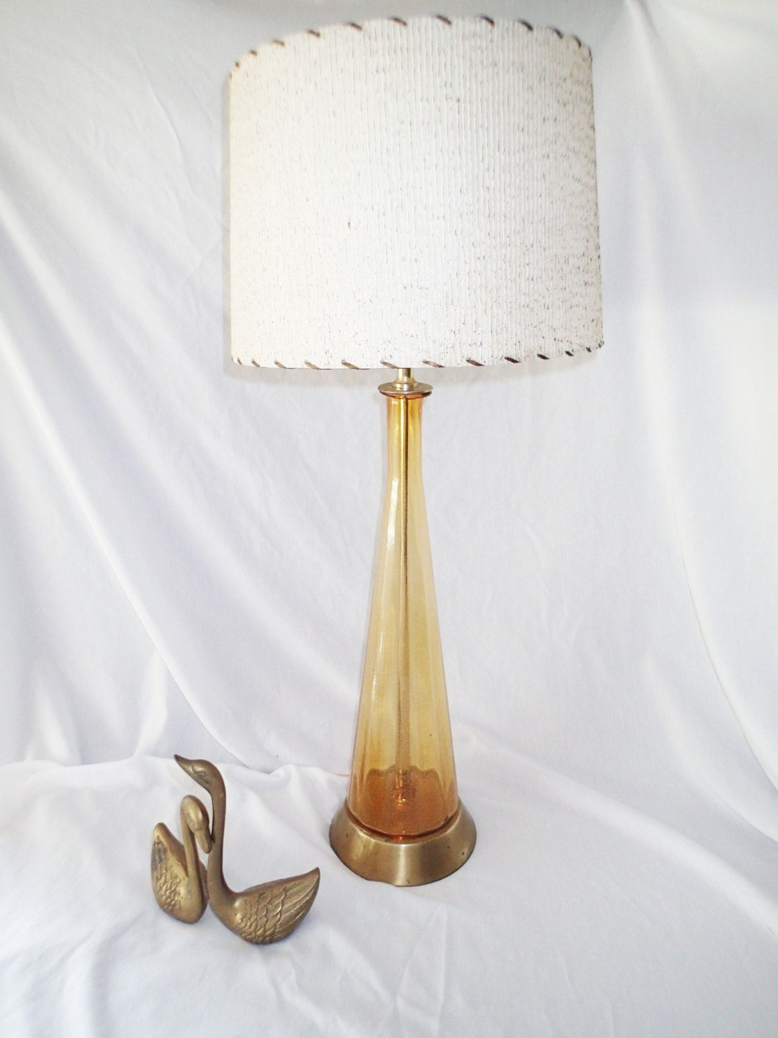 Table lamp blenco bubble glass 1960s mcm hand blown glass topaz table lamp blenco bubble glass 1960s mcm hand blown glass topaz bottle lamp mid century geotapseo Image collections