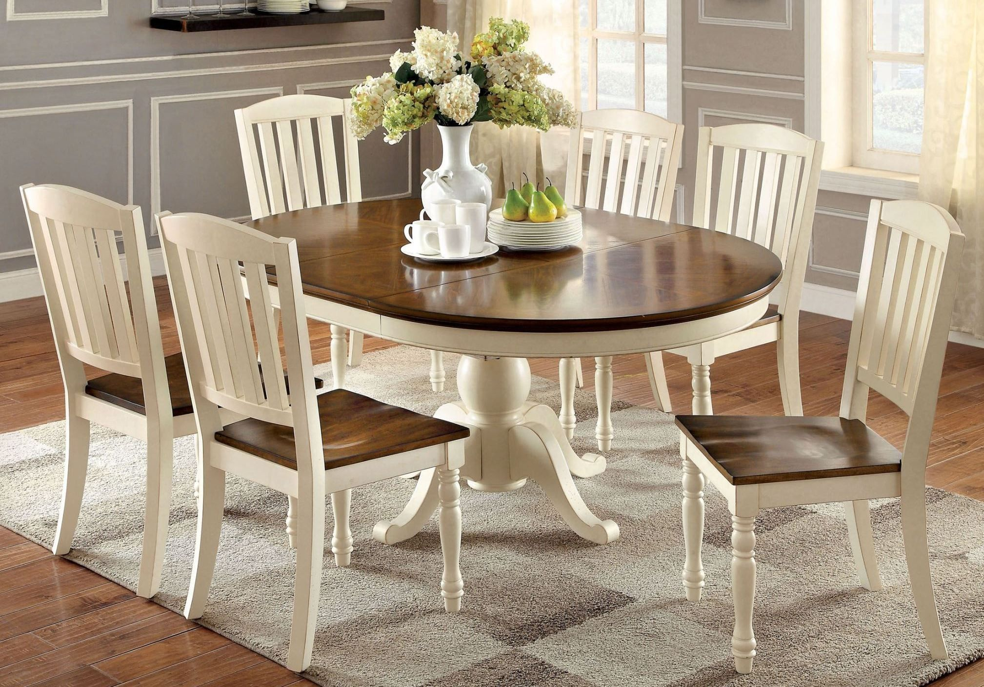 Harrisburg Vintage White And Dark Oak Oval Extendable Dining Room Set Oval Dining Room Table Dining Room Small Oval Table Dining