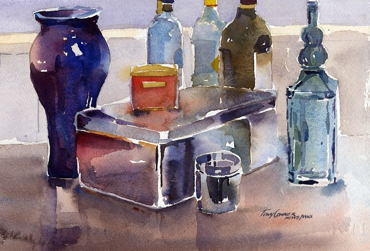 Studio Objects Watercolor Still Life Painting Still Life