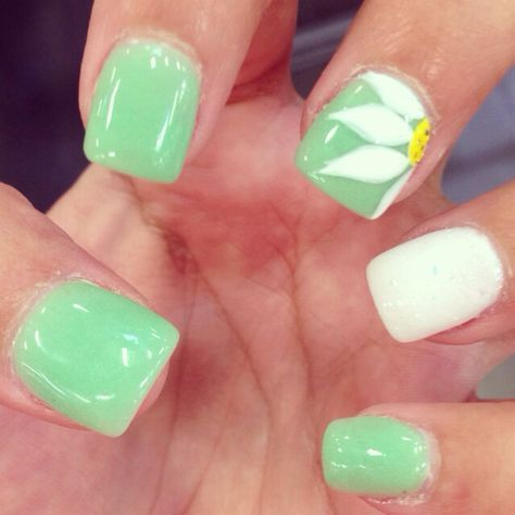 great spring nail art love the color and sunflower nails