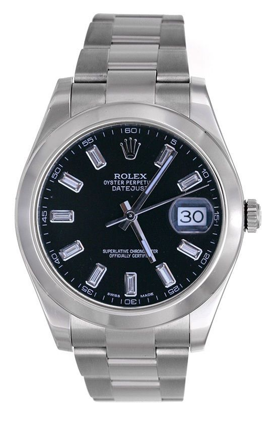 rolex mens ss datejust smooth oyster rare dark gray tapestry dial rolex mens datejust ii black baguette diamond dial smooth bezel rolex datejust