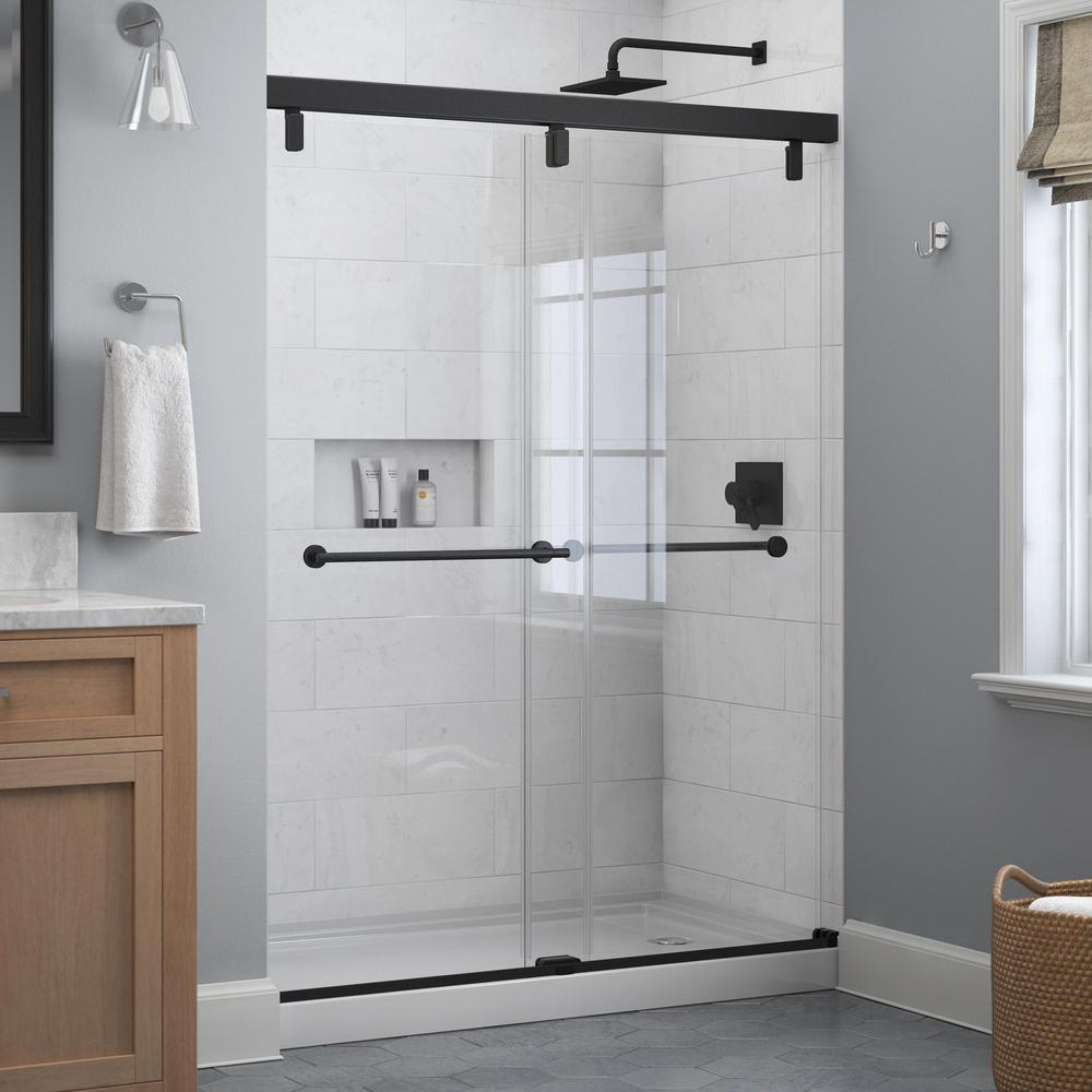 Delta Lyndall 60 In X 71 1 2 In Frameless Mod Soft Close Sliding Shower Door In Matte Black With 1 4 In In 2020 Shower Doors Sliding Shower Door Custom Shower Doors