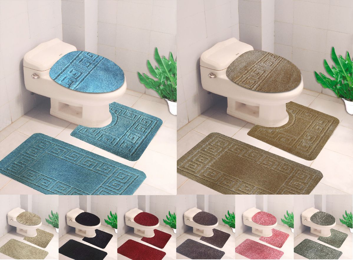 Bathmats Rugs And Toilet Covers 133696 3pc Set Solid Chain Design