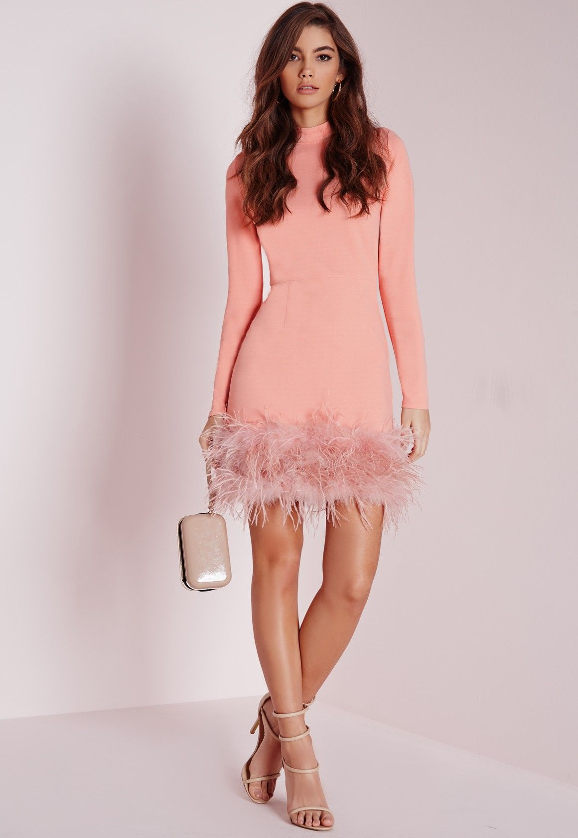 f5ac31e70c39 Missguided - High Neck Feather Trim Bodycon Dress Rose Pink