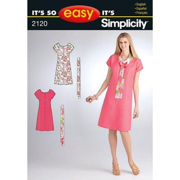 Simplicity Pattern 2120-2120 XXS to L | Dress patterns | Pinterest ...