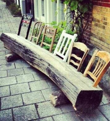 log bench with old chair backs diy garden pinterest idei