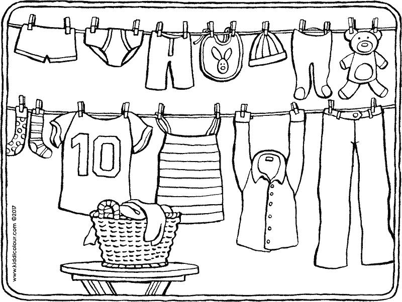 wasdraad kleurprent 01k winkel kleding knutselen thema