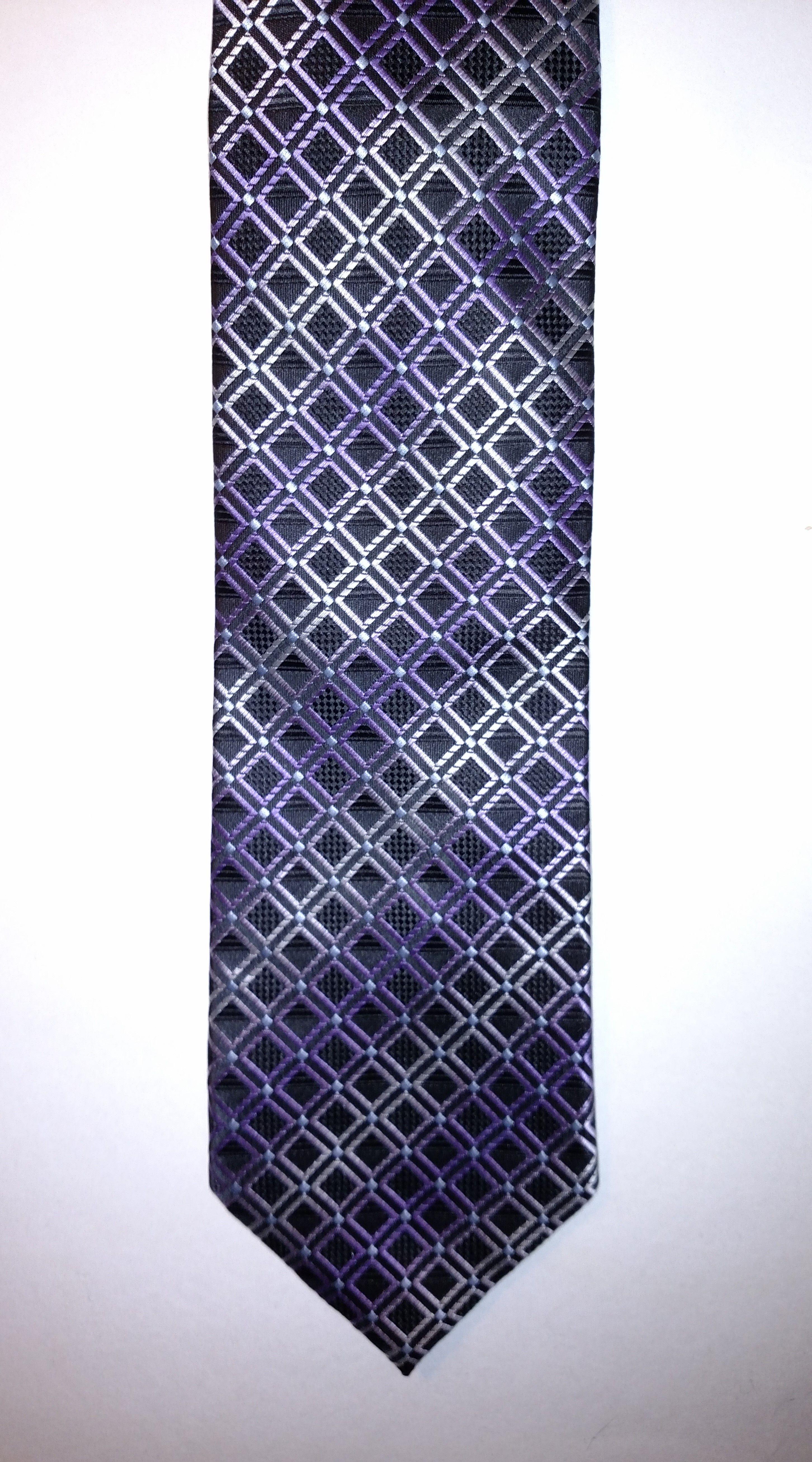 Purple black geometric pattern mens tie
