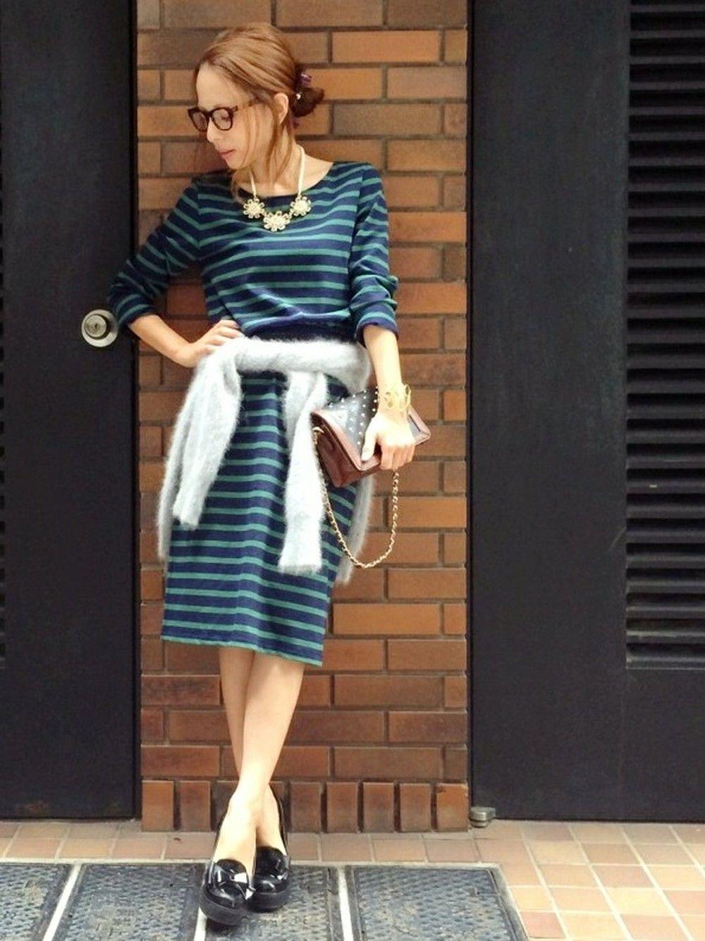 YUUKIさんのワンピース「amie by miely ボーダーワンピース」を使ったコーディネート