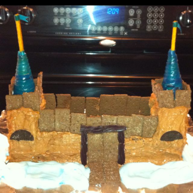 Our castle cake for The Blue and Gold Banquet tomorrow!