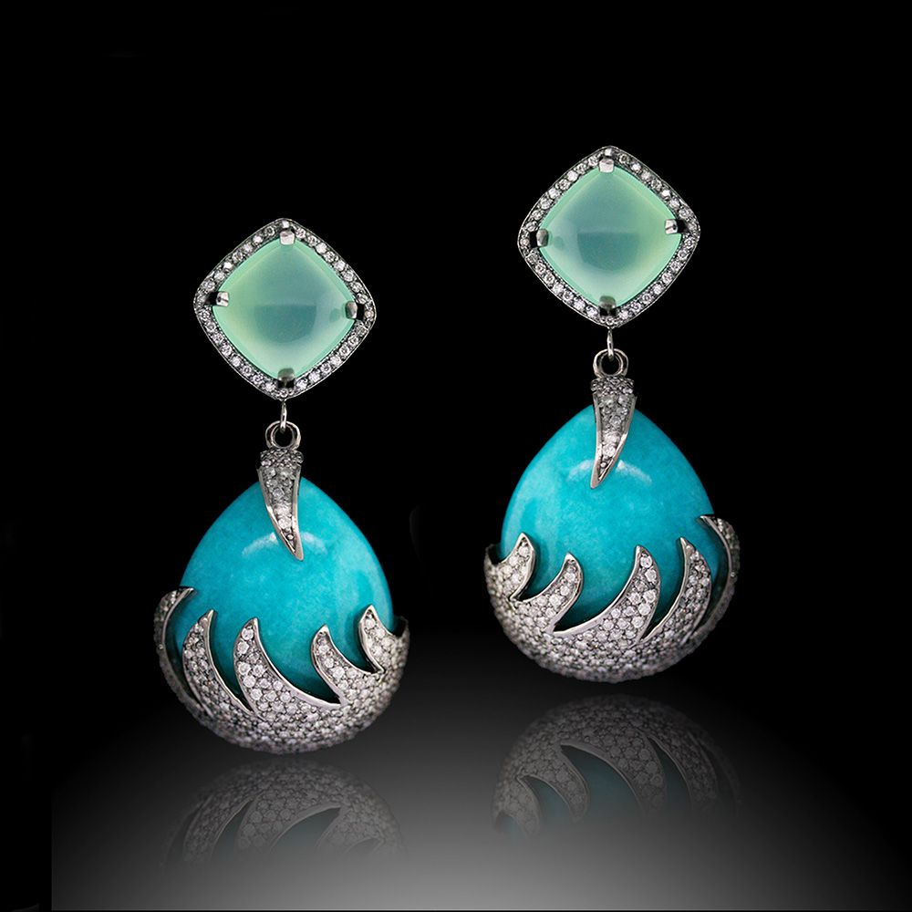 Colette Earrings, Set With Amazonite, Turquoise And Diamonds