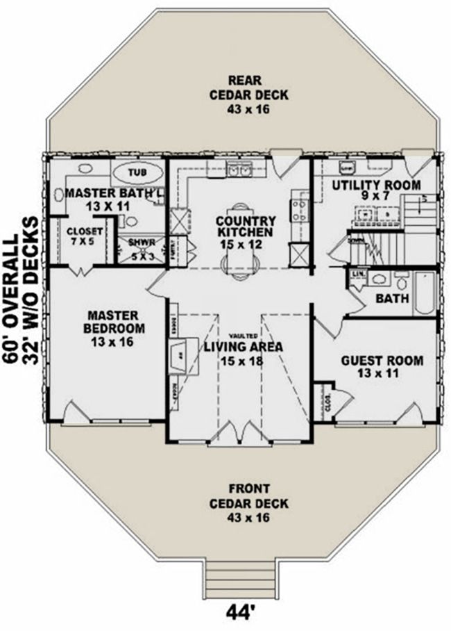 Photo of House Plan 053-00214 – Small Plan: 1,280 Square Feet, 2 Bedrooms, 2 Bathrooms