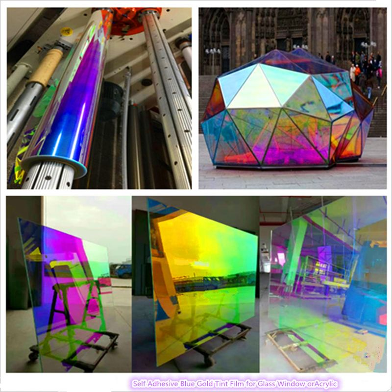 Self Adhesive Dichroic Building Pet Window Film For Glass Or Acrylic Sheet 68cm X 1m Sample By Stained Glass Window Film Adhesive Window Film Glass Film Design