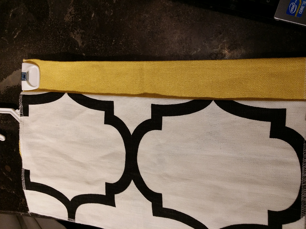 Dining Room 1 pair, stationary, lined, interlined panels. Blk/White Geometric with yellow banding on leading Edge