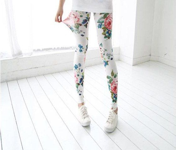 The peony pattern thin spring clothing ninth pants by ModestLuxury, $19.90