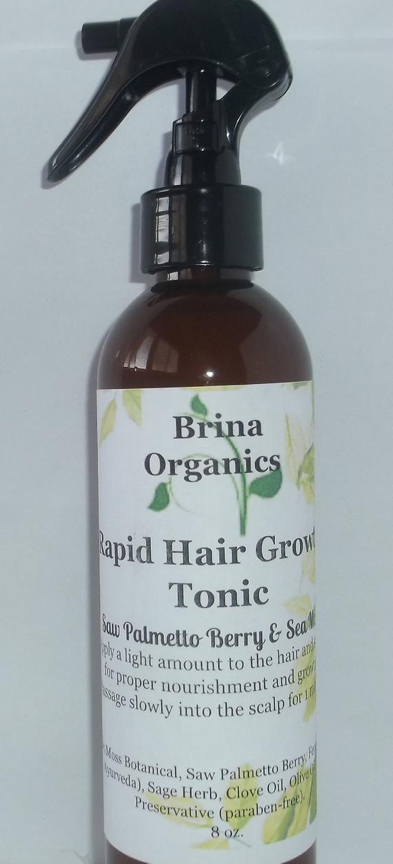 Supplement for Hair Growth} and Rapid Hair Growth Tonic Spritz Saw Palmetto Berry & Sea Moss Botanical 8 oz.   Brina Organics