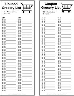 printable blank grocery list