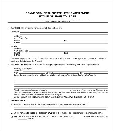 Commercial Real Estate Lease Agreement Template , 11+ Simple - real estate contract template
