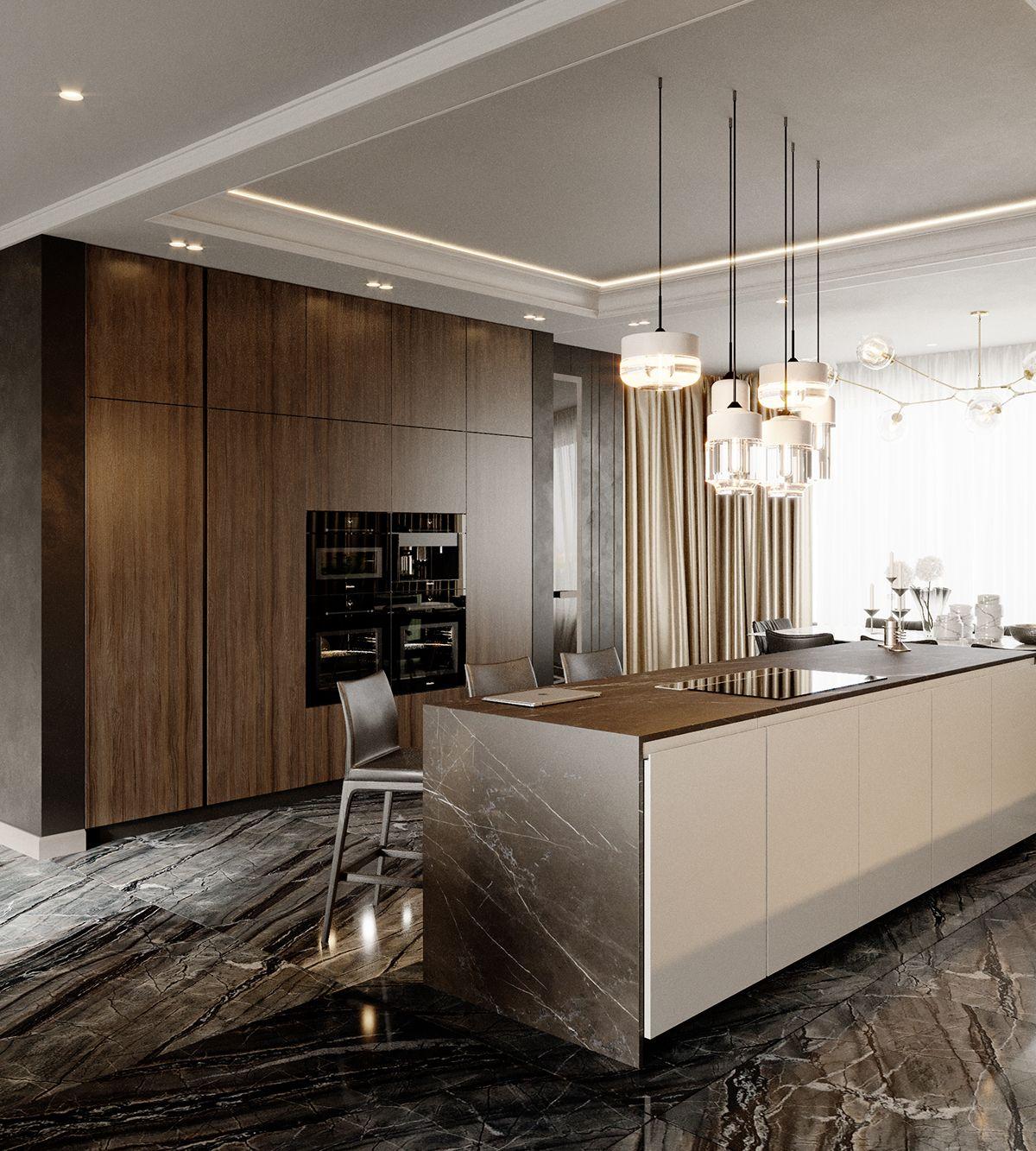 Future Interior Luxury Design: 室 - / 餐廚 . 中島 / Kitchen。 In