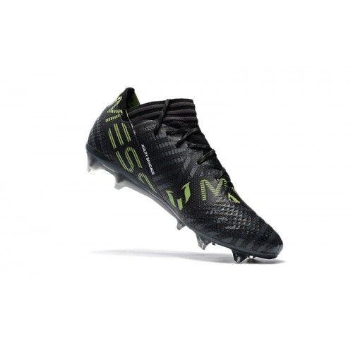 online store 116b5 e96f0 Barato Adidas Nemeziz 17.1 FG Negro Verde Botas De Futbol