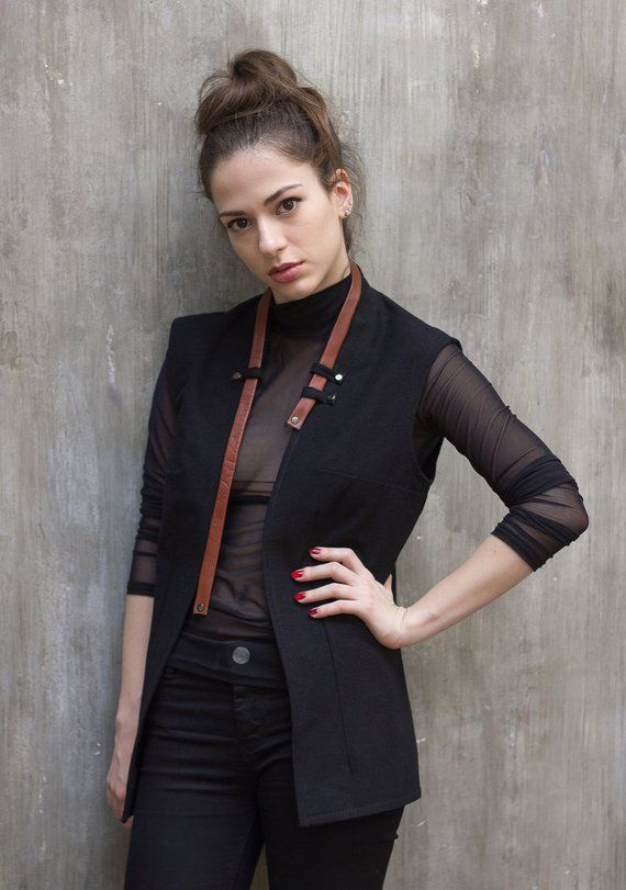 6ee1b7a13f4ace Business casual black vest with Leather Strap   Womens waistcoat   Sleeveless  jacket   Black Gilet