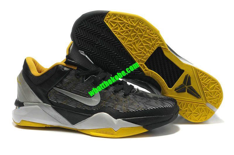 8a379db1ad38 Nike Zoom Kobe 7 Womens Supreme Black Metallic Silver Tour Yellow White