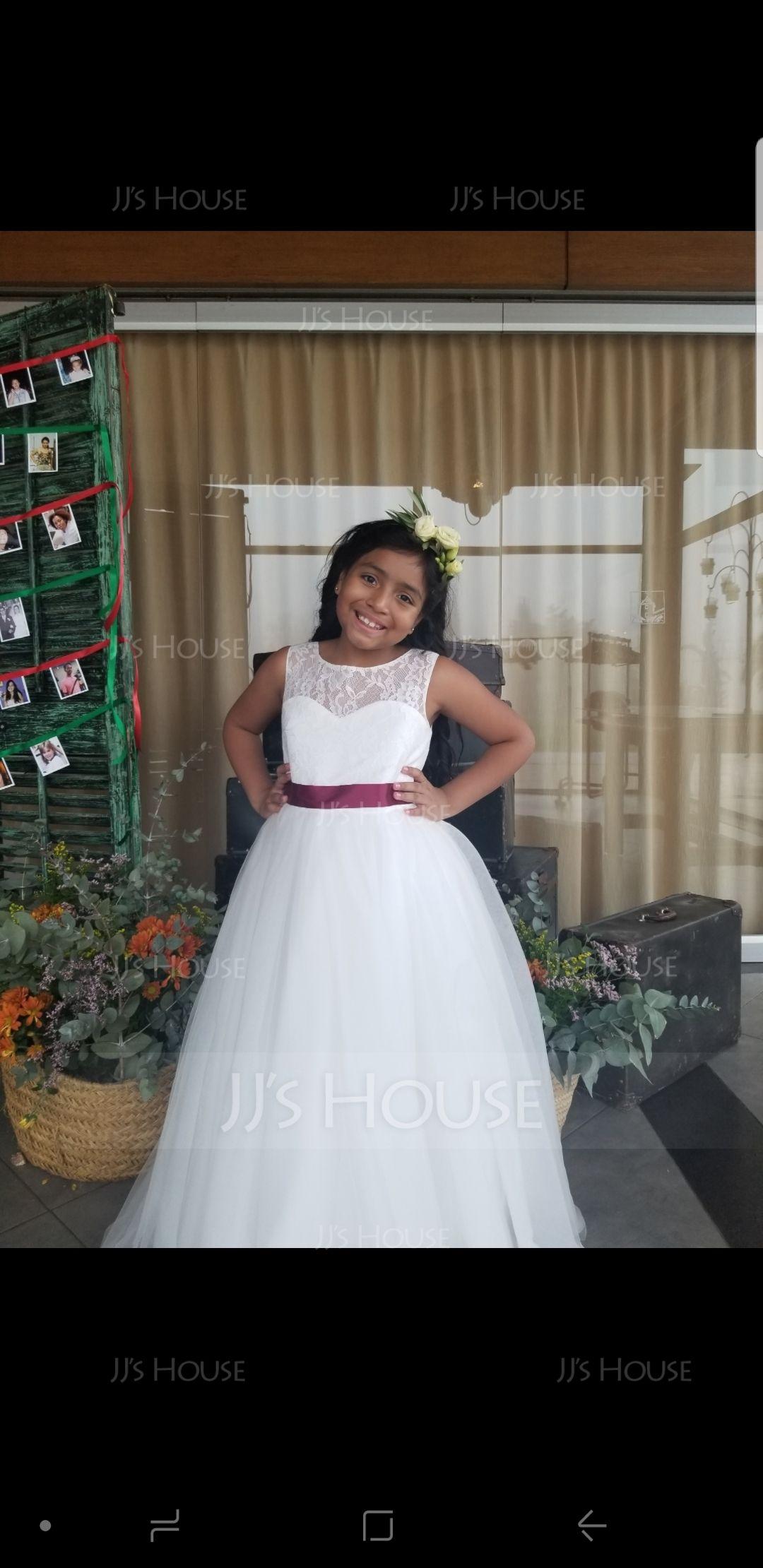 2ab3c49af93 A-Line Princess Floor-length Flower Girl Dress - Satin Tulle Lace  Sleeveless Scoop Neck With Sash (010106124) - Flower Girl Dresses - JJ s  House