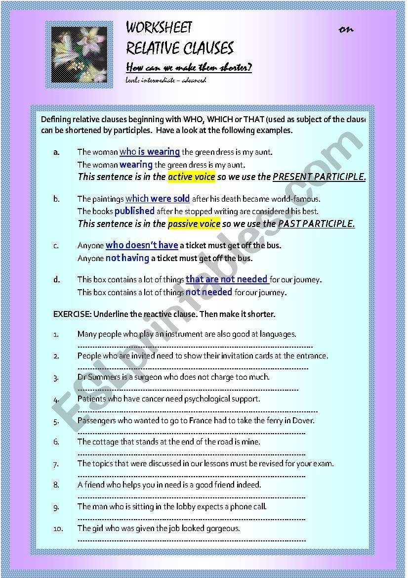 Relative Clauses Participle Infinitive Constructions Key Included Ingilizce