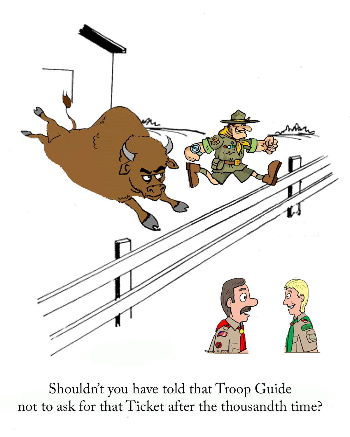 Altered a cartoon and posted this to my Wood Badge Troop – Wood Badge Ticket Worksheet