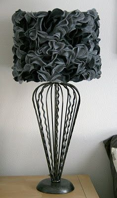 Diy anthropologie drum lampshade with black and grey ruffles and diy anthropologie drum lampshade with black and grey ruffles and wire base find more diy greentooth Images