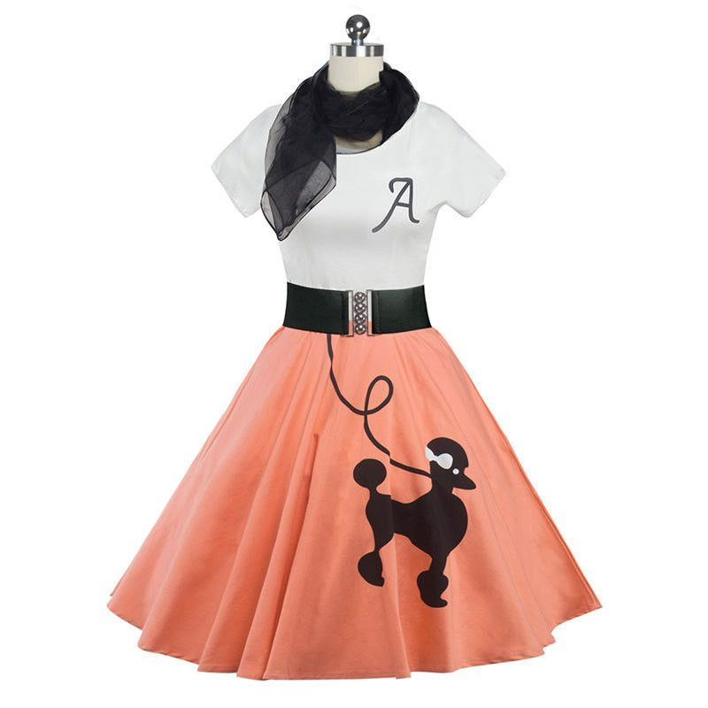 "3 PC Red 50/'s Poodle Skirt outfits Girl Sizes 10,11,12,13 W 23/""-30/"" Length 23/"""