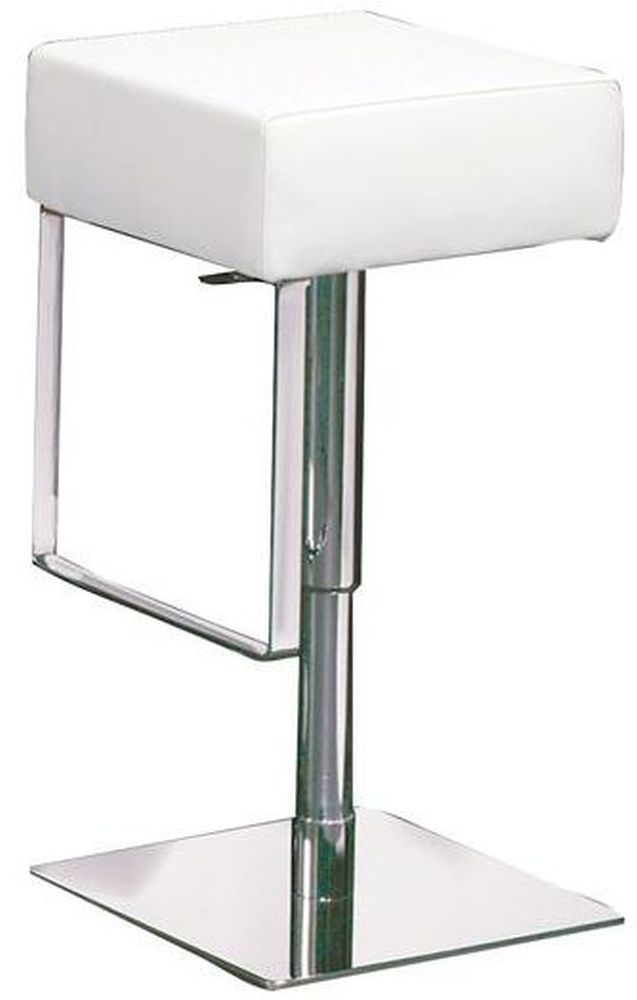 Ben White Leather Bar Stool With Chrome Base White Leather Bar Stools Bar Stools Stool