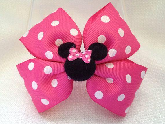 "4"" Minnie Mouse Pink /& Black Glitter Hair Bow Clip"