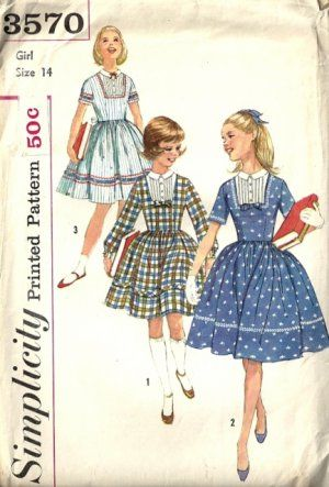 Girls #Dress 50s #Vintage #Sewing Pattern Simplicity 3570 Size 14 ...