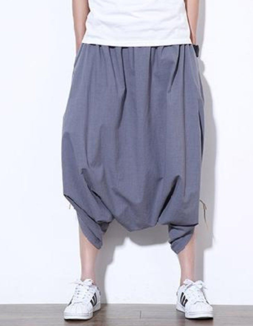 3d0885ee0dd Drop Crotch Linen Trousers Sirwal in Nice Grey