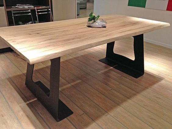Mesas de madera estilo industrial casa cm pinterest Mesas industriales vintage