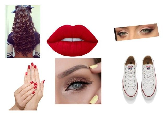 """Cheerleader"" by xxgirl-almightyxx on Polyvore featuring Belleza, Lime Crime, Piggy Paint y Converse"