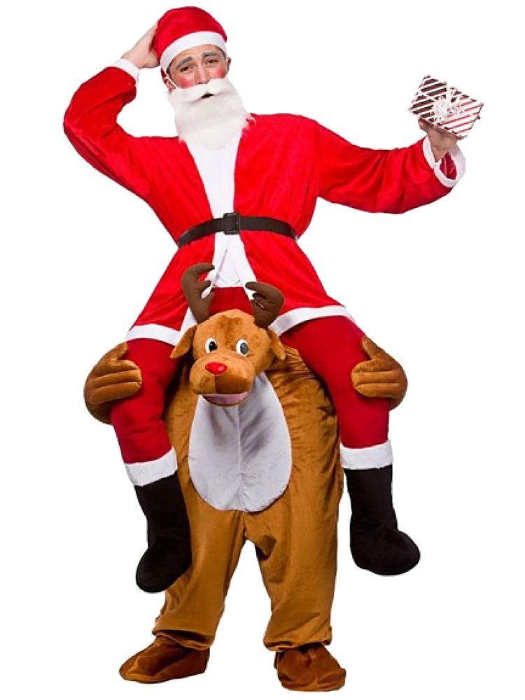 Santa Ride On Me Reindeer Piggy Carry Funny Costume Christmas Fancy Dress Deer