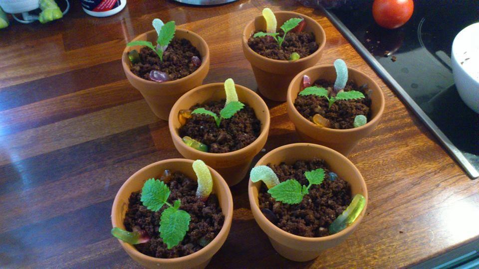 der er chokolade mousse i bunden, og så er det smuldret brownie oven på også vingummi orm og citronmelisse der er plantet deri:-)