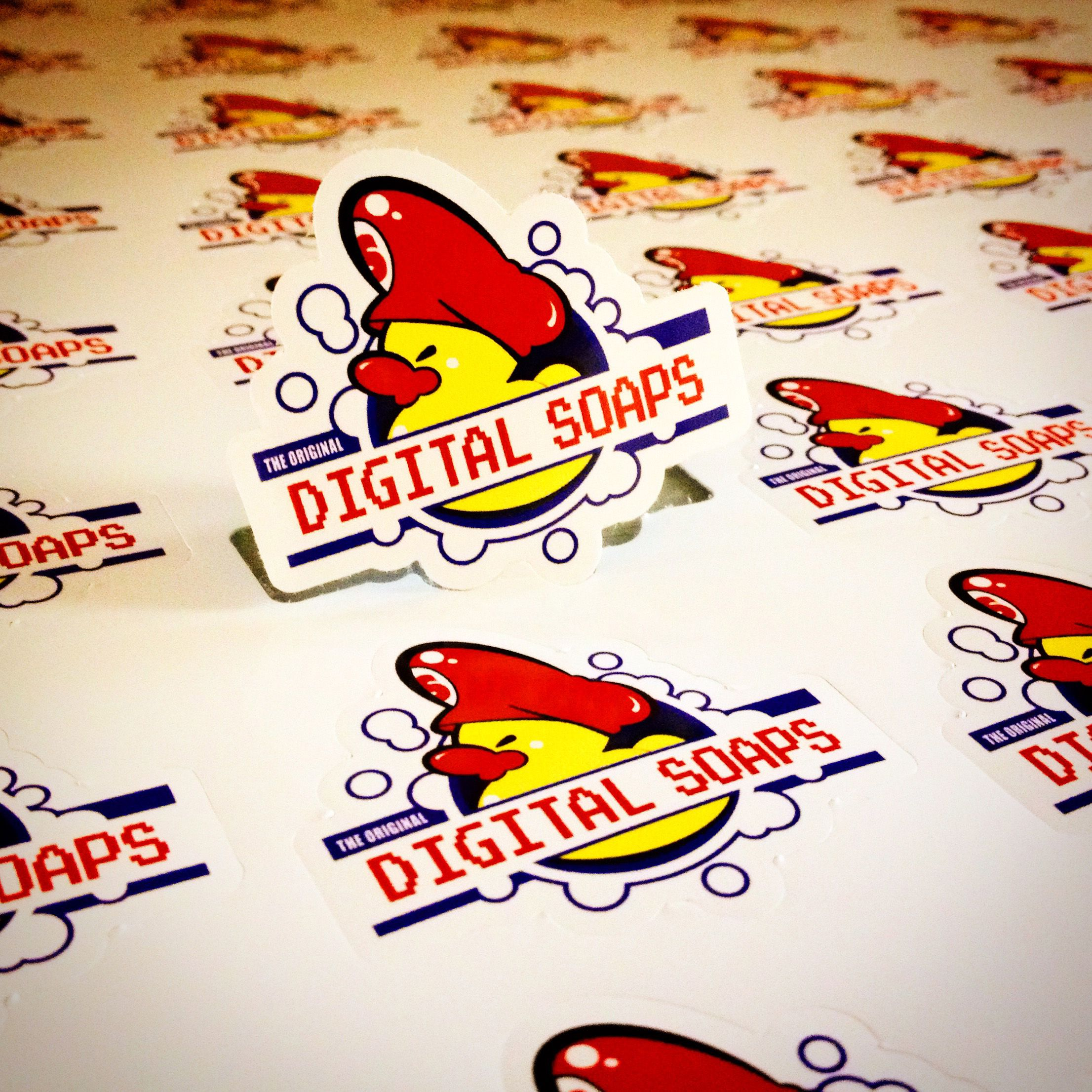 Digital soaps logo stickers custom die cut with a white border printed on outdoor vinyl