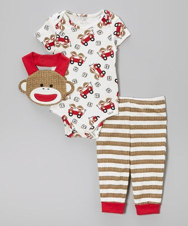 Love this Tan Sock Monkey Bodysuit Set - Infant by Sock Monkey on #zulily! #zulilyfinds