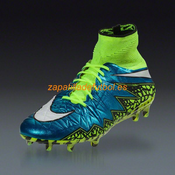 newest collection 00e0d 37bee Tacos de futbol Nike Hypervenom Phantom II FG Laguna Azul Blanco Volt