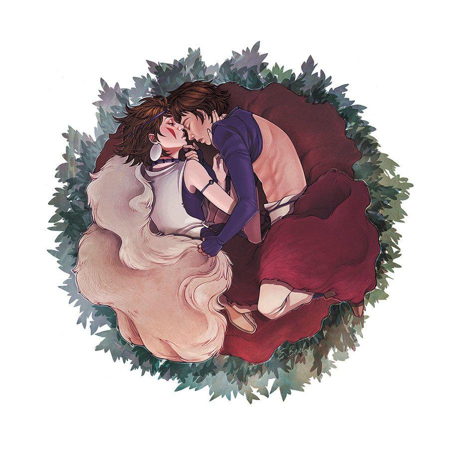 "Stupid Human by ElizabethBeals.deviantart.com on @DeviantArt - San and Ashitaka from Miyazaki's ""Princess Mononoke"""