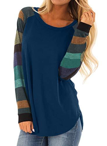 f69c126f2b9 Asvivid Womens Casual Color Block Long Sleeve Pullover Sweatshirt Tops –  Videos.Images.Pictures