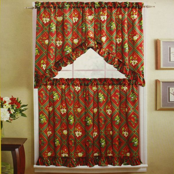 christmas kitchen tiers holiday kitchen curtains - Christmas Kitchen Curtains