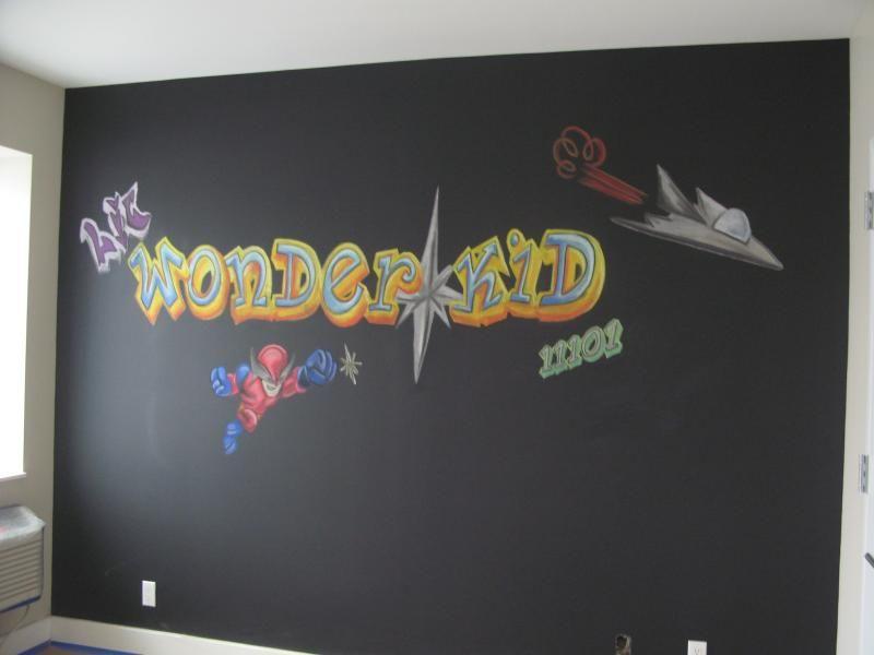 Graffiti streetart wall mural done in chalk for a model apartment